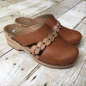 DANSKO Brown Leather Slip On Wooden Clogs Heels
